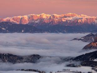 Glowing Mountains - leuchtende Berge; Das Hochschwab-Massiv im Sonnenuntergang